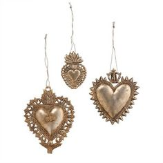 Brass Ornament Sacred Hearts Brass Ornament Made of brass Antiqued finish Represents the Sacred Heart of Jesus Handcrafted in the style of Mexican milagros or miracles, these brass Heart Of Gold, Love Heart, Christmas Ad, Outdoor Christmas, Christmas Lights, White Christmas, Christmas Decor, Holiday Decor, Etsy Coupon Code
