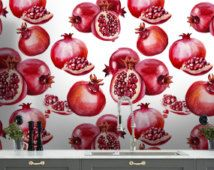 Exotic pomegranate wallpaper+5pictures  /Removable wallpaper/Remove wallpaper/Wallpaper/Peel ad stick wallpaper S081