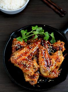 my bare cupboard: Japanese sticky sesame chicken wings Japanese Dinner, Sesame Chicken, Cast Iron Cooking, Chicken Wing Recipes, Good Enough To Eat, Food For Thought, Chicken Wings, Asian Recipes, Appetizer Recipes