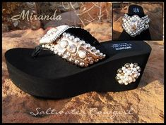9a4538979f17 Miranda Gold and Pearl Swarovski Flip Flops-funky cowgirl jewelry