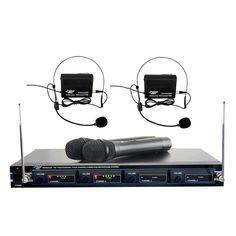 Pyle PDWM4300 4 Mic VHF Wireless Rack Mount Microphone System