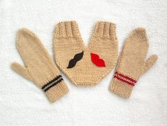 Knitted lovers gloves set, for him and her, in light brown with lip and mustache appliques, valentines day gift, gift for couples on Etsy, $49.90