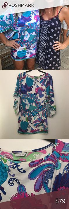Trina Turk Swim coverup pool to club wear This print is one of my favs by Trina Turk.  I adore it but after a yearly pool party there are so many pictures with me wearing it. Size small but could fit a medium. Trina Turk Swim Coverups