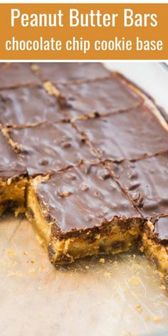 Easy peanut butter bars start out with a Pillsbury chocolate chip cookie base fo. Chocolate Chip Cupcakes, Chocolate Chip Cookie Bars, Chocolate Chip Recipes, Peanut Butter Filling, Peanut Butter Recipes, Peanut Butter Cookies, Köstliche Desserts, Delicious Desserts, Chocolate Peanut Butter
