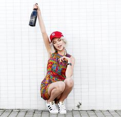 Get this look: http://lb.nu/look/8251867  More looks by Ebba Zingmark: http://lb.nu/ebbaz  Items in this look:  2hand Dress, Cluse Watch, Adidas Sneakers, Luc Belaire Bubbles   #retro #sporty #street