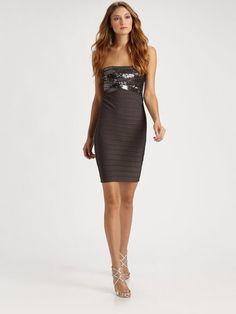 f15d90c5fbc3 New with Tags Hervé Léger. Gray Simone Strapless Dress. XS  500 Sapphire  Dress