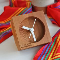 Table Clock | Engraved Table Clock | Small Clock | Wooden Clock | Handmade Clock | Made from Canadian Cedar | Made in NZ  This stylish table clock will suit all tastes, its a timeless piece built to last the test of time....why not get one engraved for yourselves, the bridal party, parents