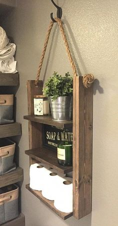 Rustic Ladder Shelf, Wood and Rope Shelf, Farmhouse Decor, Cabin Furniture Decor, Bathroom Medicine Cabinet Shelves - You are in the right place about decoration industrielle Here we offer you the most beautiful pict - Medicine Cabinet Shelves, Bathroom Storage Shelves, Bathroom Organization, Rustic Bathroom Shelves, Rustic Shelves, Decorating Bathroom Shelves, Diy Wooden Shelves, Farmhouse Shelving, Bathroom Corner Shelf