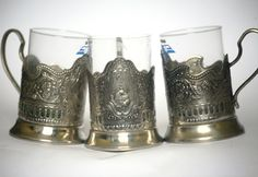 Set of 3 Three Traditional Russian Tea Glass Holders Soviet USSR Space Program Sputnik 1970s from Russia Soviet Union USSR