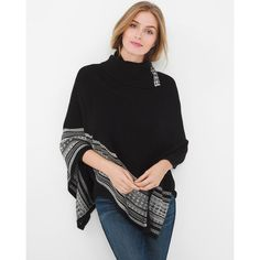 White House Black Market Border Poncho Sweater ($90) ❤ liked on Polyvore featuring tops, sweaters, white tops, white crew neck sweater, cowl neck tops, slim fit sweaters and white sweaters