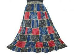 Bohemian Blue Red Patchwork Gypsy Skirt