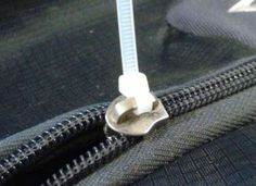 A quick fix for a broken zipper—use a zip tie!