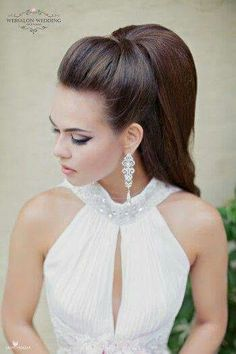 A ponytail is an informal, easy and cozy coiffure for lengthy to quick hairstyles but it may be so versatile that may be tailored for various events. A ponytail is the most typical and simple coiffure Wedding Hair And Makeup, Bridal Hair, Hair Makeup, Wedding Updo, Vintage Wedding Hair, Wedding Bride, Bride Hairstyles, Pretty Hairstyles, High Ponytail Hairstyles