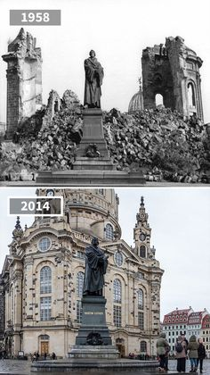 Martin Luther Statue, Dresden, Germany, 1958 - 2014 Informations About 81 Before & After Pics Showin Martin Luther, Then And Now Pictures, Before And After Pictures, Photo Facebook, Germany Ww2, Dresden Germany, Before After Photo, Paris City, Historical Images
