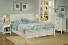 white and duck egg bedroom  duck egg, nice contrast w white furniture, like the rug size and colour - good size, would match our blinds