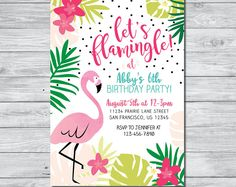 Invitación de cumpleaños flamenco, vamos a Flamingle invitación, invitación Digital, invitación Flamingo, Flamingo invitación imprimible