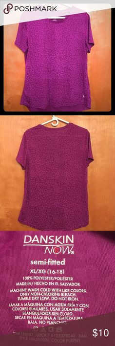 "DANSKIN NOW SEMI-FITTED HIGH/LOW DRIMORE ATHLETIC 🌺... PRETTY PURPLE...DANSKIN NOW SEMI-FITTED DRI MORE HIGH/LOW ATHLETIC TOP WITH LIGHTER PURPLE LEOPARD SPOTS.  100% polyester.  Details:  machine wash cold, tumble dry low.  Measurements:  chest 22"", length 28"".  PERFECT CONDITION!! Stored in a smoke free home. Danskin Now Other"