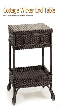 Harvested Rattan Wicker One Drawer End Table - Available in a Variety of Colors from The Well Appointed House Cottage Furniture, Rattan Furniture, Custom Furniture, Wicker Side Table, Drawer Table, Breakfast In Bed, Furniture Collection, End Tables, House Styles