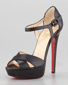 Sporting Buckle Ankle-Wrap Red Sole Sandal, Black by Christian Louboutin at Neiman Marcus.