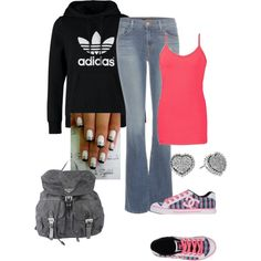 Untitled #47 by bj1228143 on Polyvore featuring polyvore fashion style adidas Originals BKE J Brand DC Shoes Prada Betsey Johnson