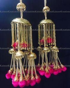 Wedding Kaleere - Gold & Pink Kaleere   WedMeGood  Modern day Kaleere with Pink pom poms. Want them? Find more Kaleere designs on wedmegood.com #wedmegood #kaleere