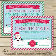 Santa Nice List Certificate  Christmas by stockberrystudio on Etsy
