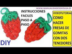 ▶ COMO HACER UNA FRESA DE GOMITAS (LIGAS) CHARMS CON DOS TENEDORES. VIDEOTUTORIAL DIY. - YouTube
