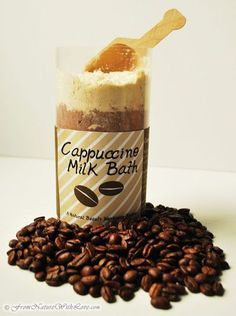 DIY Cappuccino Milk Bath        This delicious scented milk bath combines skin soothing Oat Flour with gently exfoliating Milk Powder to create a luscious, skin pleasing combination that you and your tub will love.  makes great gifts as well..
