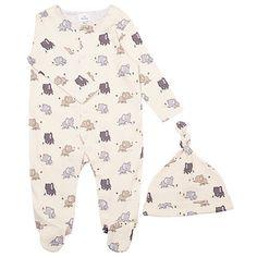 Buy John Lewis Baby's Elephant Print Sleepsuit with Hat, Cream Online at johnlewis.com