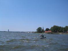 Blick auf Fischereigebäude an der Schlei