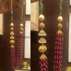 Ruby Drops Necklace with Jhumka Design - Jewellery Designs Ruby Jewelry, India Jewelry, Bead Jewellery, Beaded Jewelry, Bead Necklaces, Fashion Jewellery, Beaded Necklace Patterns, Jewelry Patterns, Indian Jewellery Design