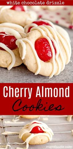 Cherry Almond Cookies - Traditional Italian Cookies Mom Foodie - New Ideas Galletas Cookies, Candy Cookies, Yummy Cookies, Holiday Cookies, Brownie Cookies, Köstliche Desserts, Holiday Baking, Christmas Desserts, Delicious Desserts