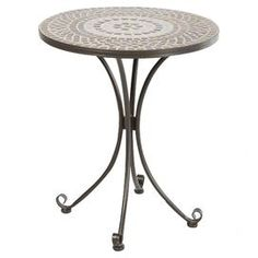 Outdoor Bistro Table With A Curved Wrought Iron Base And Hand Laid Mosaic Tile  Top