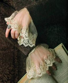 Elizabethan-style Sheer Ivory Lace Cuffs ....