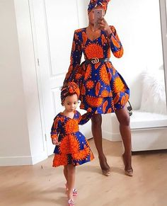 lou and her daughter are super charming in their matching outfits / heads .lou and her daughter are super adorable in their matching outfits/head wraps 😍? African Dresses For Kids, African Print Dresses, African Print Fashion, African Fashion Dresses, African Outfits, Ankara Fashion, Africa Fashion, African Prints, African Wedding Dress