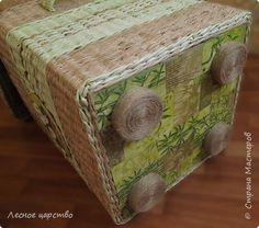 Поделка изделие Декупаж Плетение Бамбук местного производства Картон гофрированный Салфетки Трубочки бумажные фото 7