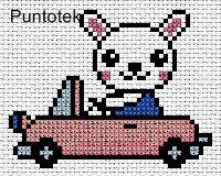 conejo en auto EN PUNTO DE CRUZ