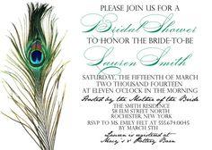 Peacock Bridal Shower Invitation quantity is 25 by HeatherGlyphics