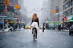 downtownfrombehind by bridget fleming #fotografia #bici #newyork #ragazza #bridgetfleming