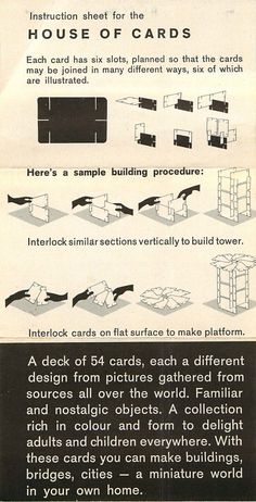 (Small) House of Cards | Eames Office  See this and more great Eames information and vintage graphics and #Eames photos on our website by clicking on this Pin.