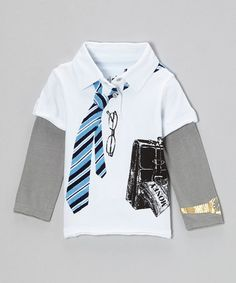 Take a look at this White Young CEO Layered Polo - Infant, Toddler & Boys by Mini Shatsu on #zulily today!