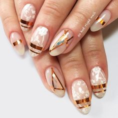 Ideas For Gorgeous Nails With Gold Foil Designs ★ See more: https://naildesignsjournal.com/gold-foil-gorgeous-nails/ #nails