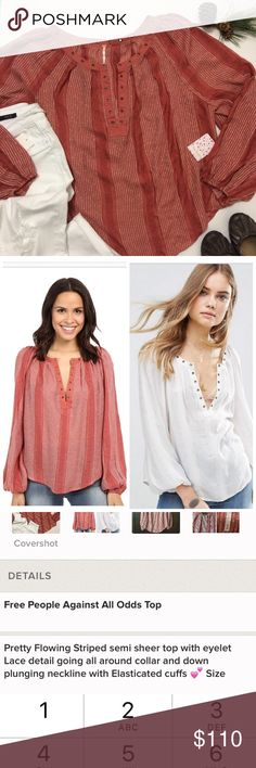 """✨SALE✨Free People Against All Odds Top Pretty flowing Striped semi sheer top with eyelet Lace detail(and pleats see pic 4) all around collar and down plunging neckline with elasticated cuffs💕 Size Medium its an oversized top that measures about 25.5-26"""" across chest laying flat and 24.5-26.5"""" long depending on where measured. Brand new and perfect as a gift 🎁😉 I consider reasonable offers and bundle is available to save more plus ⚡️📦📫😁💕 note: hand wash recommended on website but not…"""