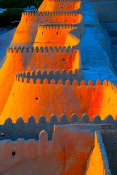 Sunset, City wall, Khiva, Uzbekistan