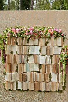 backdrop made of books. :)