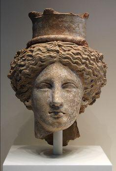 Head of Demeter or Kore made in Sicily, BC Terracotta by proteamundi Roman Sculpture, Art Sculpture, Sculptures, Art Romain, Ancient Art, Ancient History, Art Et Architecture, Greek Gods And Goddesses, Art Premier
