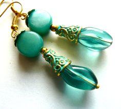 Turquoise dangle earrings Gold turquoise glass earrings