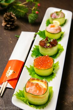 Cucumber Wrapped Sushi by justonecookbook #Sushi #Cucumber