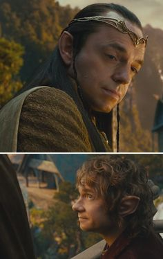 Elrond looks so sweet in this picture...kind of a gentle, fatherly look. And Bilbo....sweet as always.