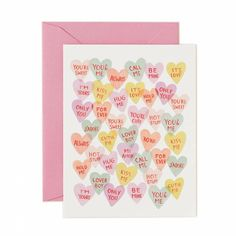 This adorable card features classic valentine's sweethearts with hand-painted messages. Card: 4.25 x 5.5 inches, printed full color on natural white cover paper Envelope: pink Rifle Paper Co.